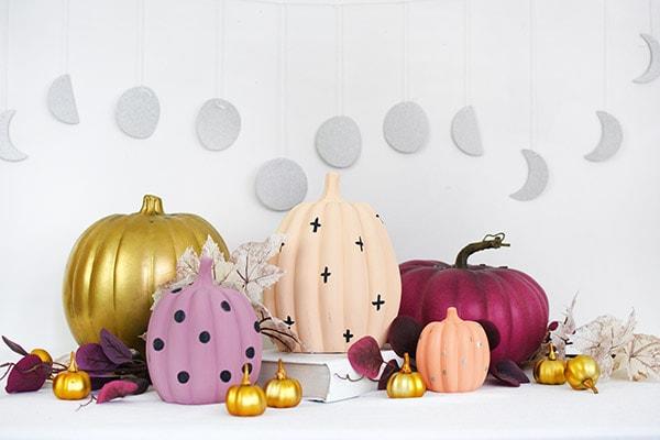 Pastel Pumpkins, gold, lavender, peach, coral