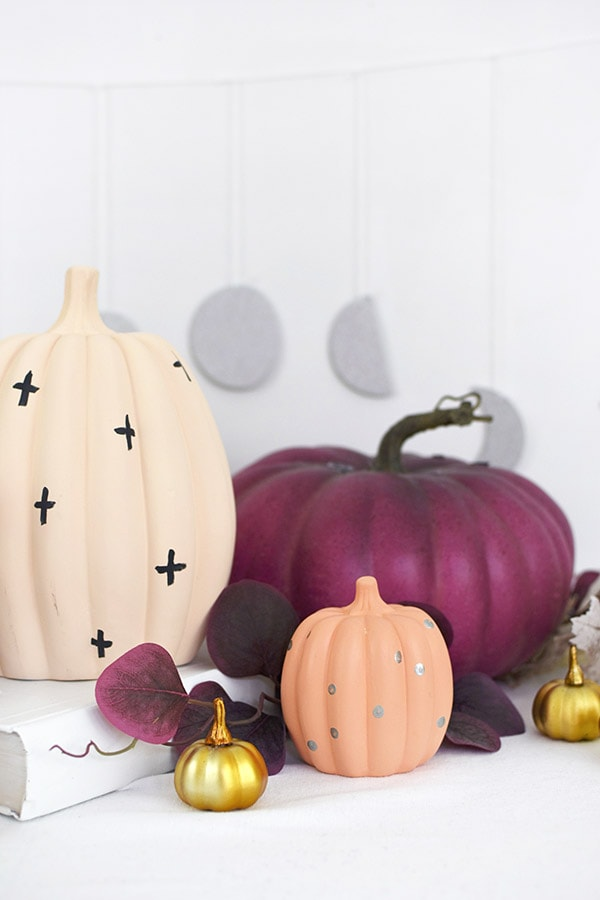 Pastel Pumpkins, cream with crosses, coral with polka dots