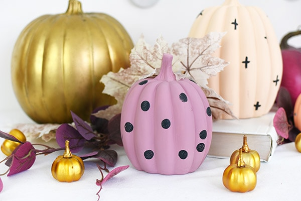 Pastel Pumpkins, lavender with polka dots