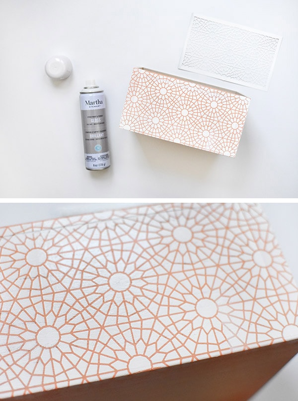 Pattern Painted Box white stencil