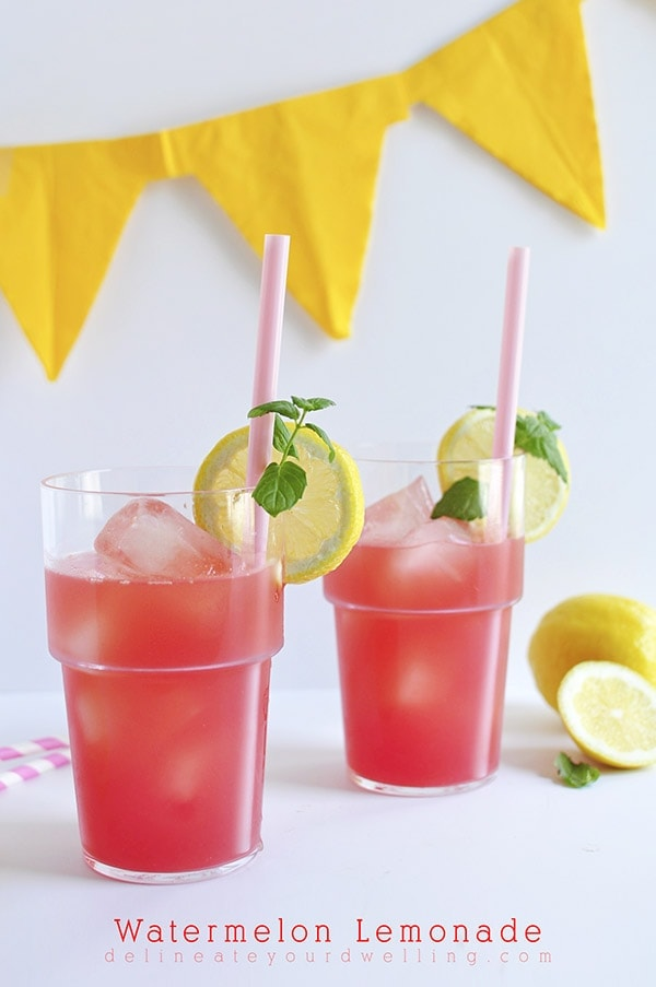 Learn how to make the most delicious and refreshing Watermelon Lemonade recipe! Perfect for blending two great summer treats together. Delineate Your Dwelling #summerlemonade #watermelonlemonade