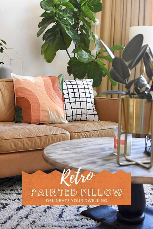 DIY Painted Retro Pillow on sofa