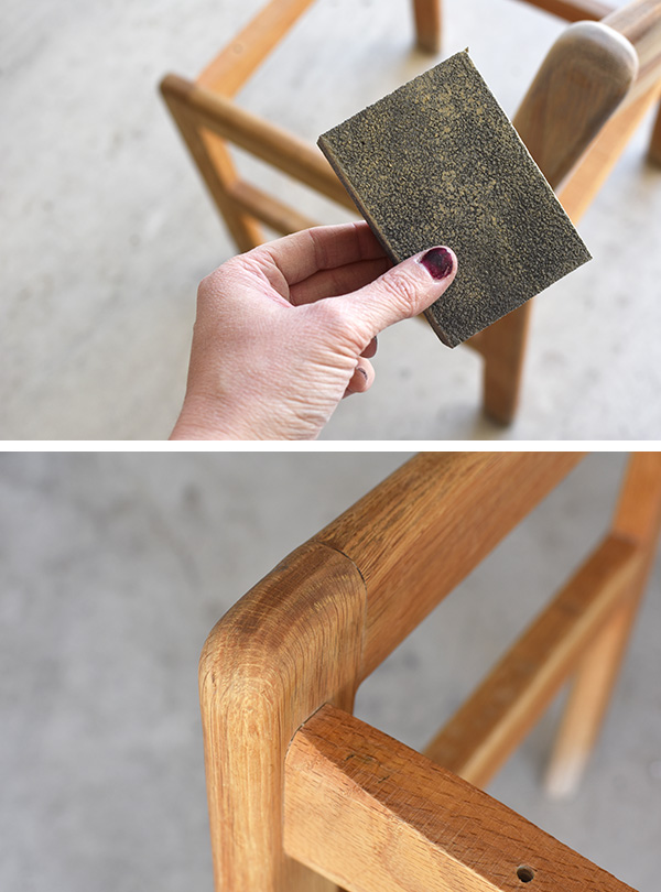 Sanding a thrifted chair