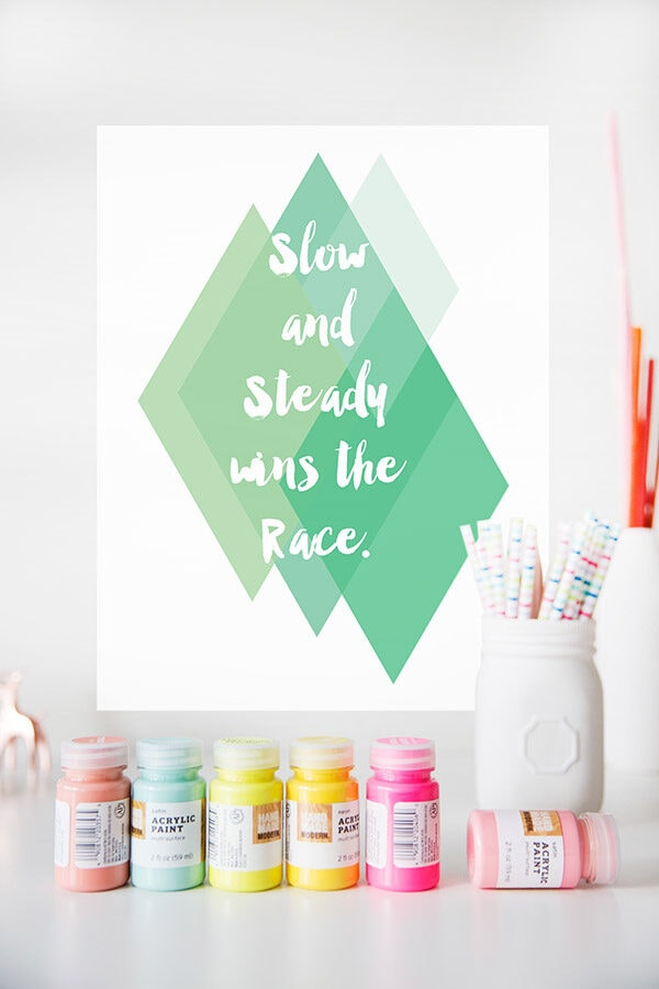 Green Slow and Steady race print
