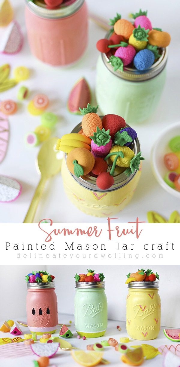 Learn how to create fun and colorfully painted Summer Fruit painted Mason Jars like a watermelon, a lime and a pineapple. They are perfect for holding tasty treats or filling with goodies for a gift. Delineate Your Dwelling #fruitmasonjar #masonjarcraft