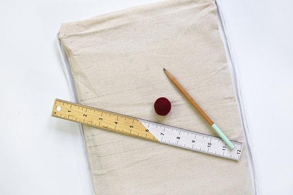 Summer Pom Pom Bag ruler pencil