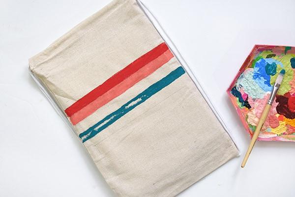 Summer Pom Pom Bag Red Blue Paint Stripes
