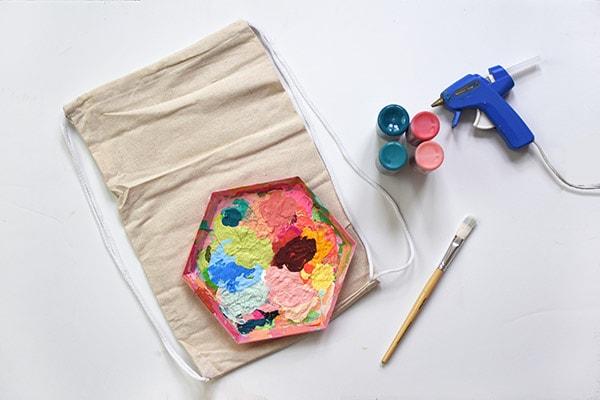 Summer Pom Pom Bag supplies