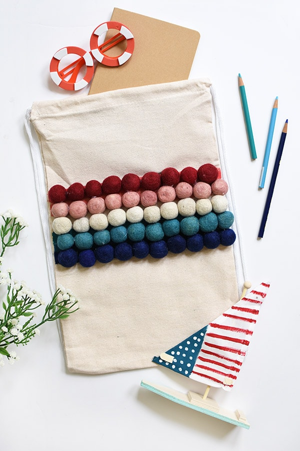 Summer Pom Pom Bag Red, Pink, White, Blue