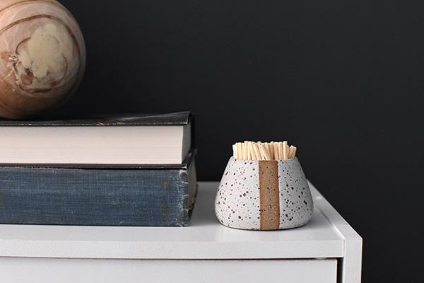 White speckled match striker pottery