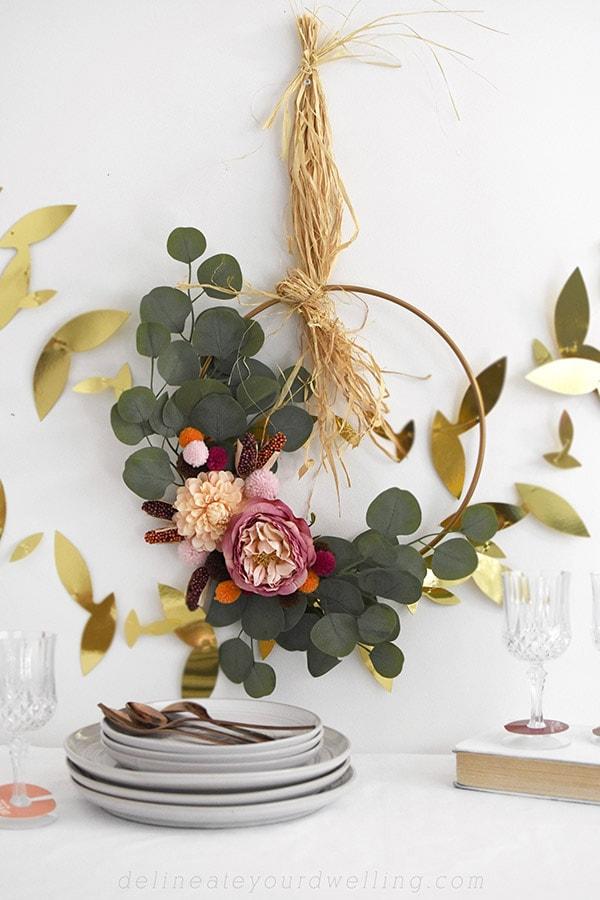 Boho Eucalyptus Thanksgiving Minimal Wreath