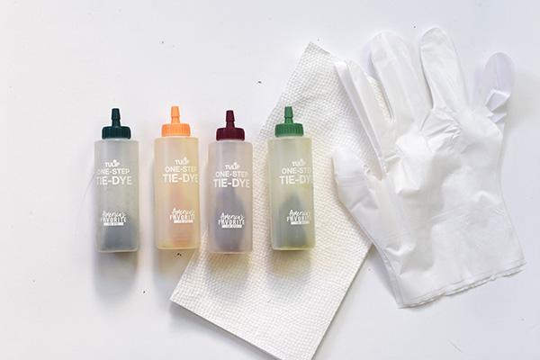 Earth toned Tie Dye supplies