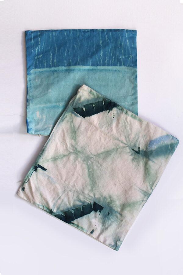 Blue and Green Shibori Pillows