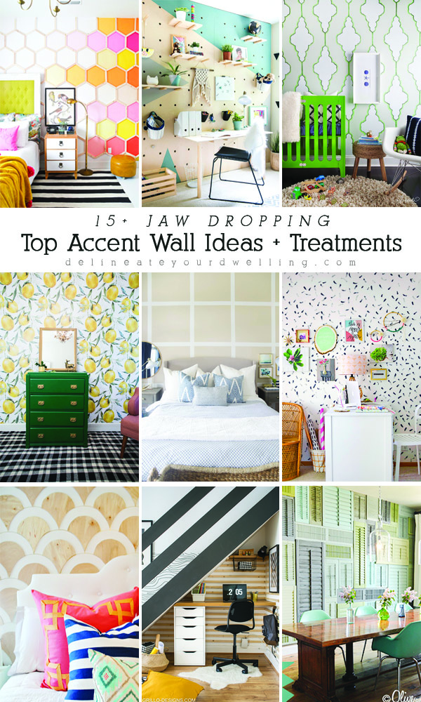 What makes a great accent wall in your home? From adding wallpaper and decals to bold paint color choices and wood accent walls, there are so many fun ideas to creating the perfect space in your home. Delineate Your Dwelling #accentwall