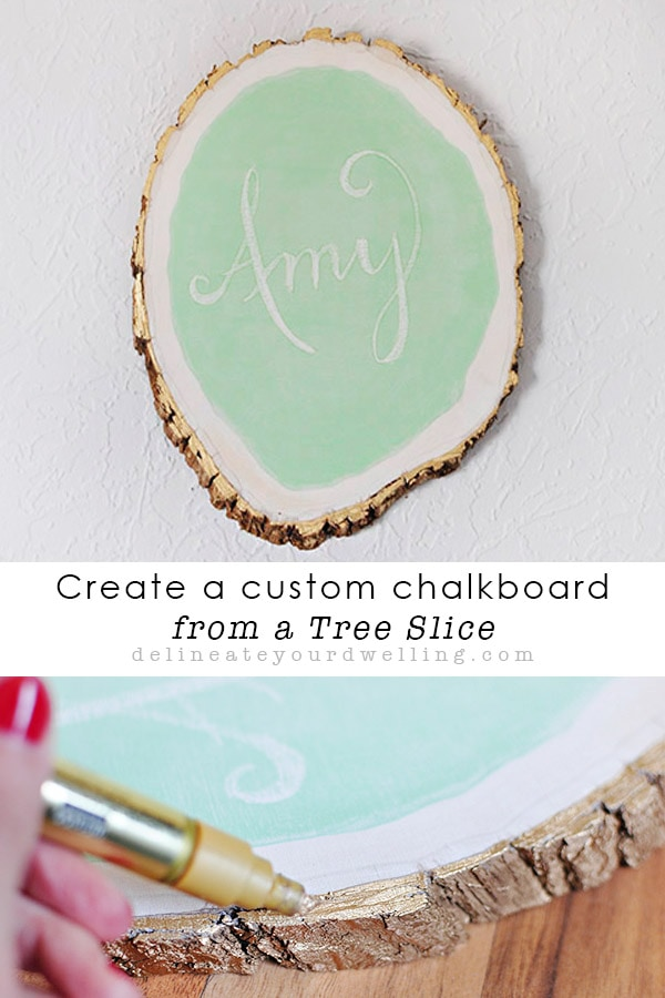 Learn how to make a custom chalkboard from a tree slice!  This is such a fun craft DIY project with a ton of personality. Delineate Your Dwelling #chalkboardcraft
