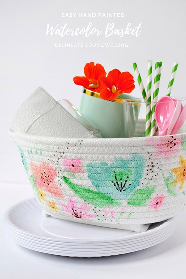 Easy Hand Painted Watercolor Basket