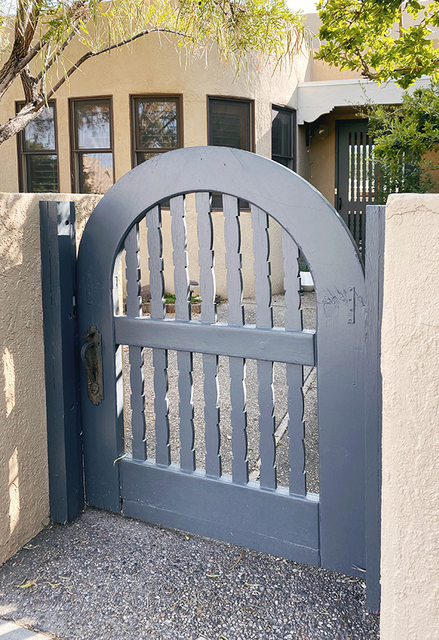 Repaired wooden gate