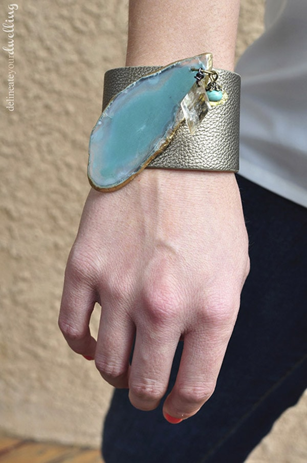 Aqua Agate Leather Cuff Bracelet