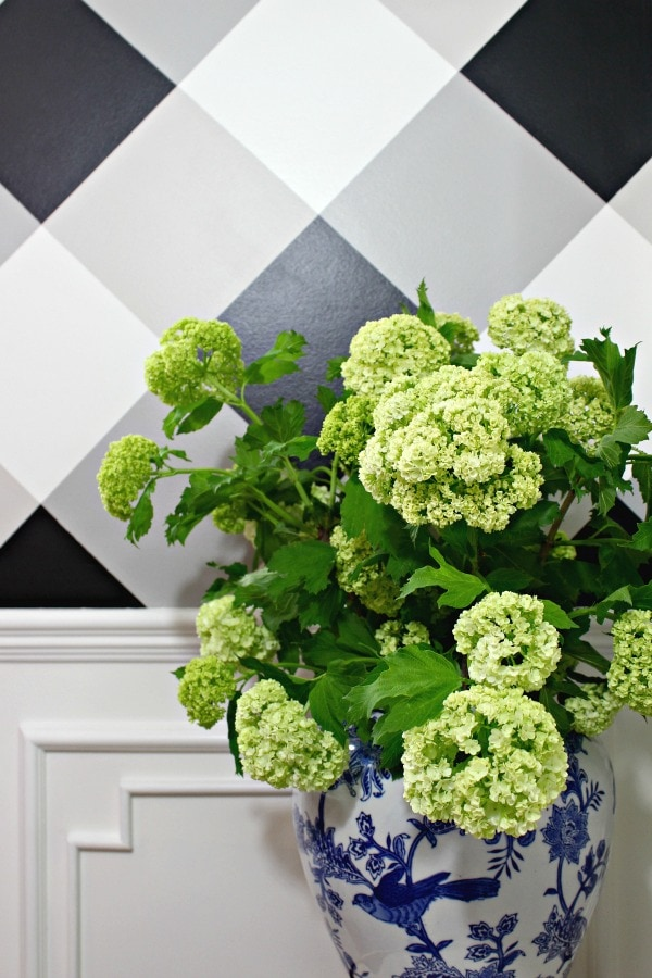 gingham wall accent
