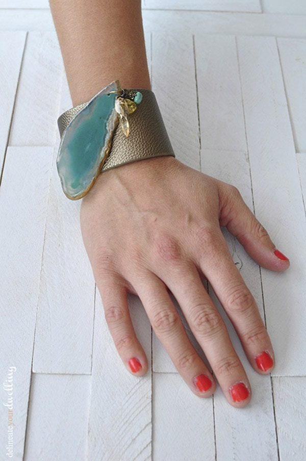 Agate Leather Cuff Bracelet